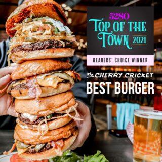 Whoa Denver! Thanks for your all of your votes for @5280Magazine's 2021 Top of the Town Best Burger. Now... come celebrate with us. 🍻🍔 #5280TOTT #denverlove #bestofdenver . . #cherrycreek #303 #cherrycricket #denverburger #burgerheaven #burgerlovers #burgersofinstagram #5280magazine #5280eats #milehighcity #denverlove #denverlikealocal #yelpcolorado